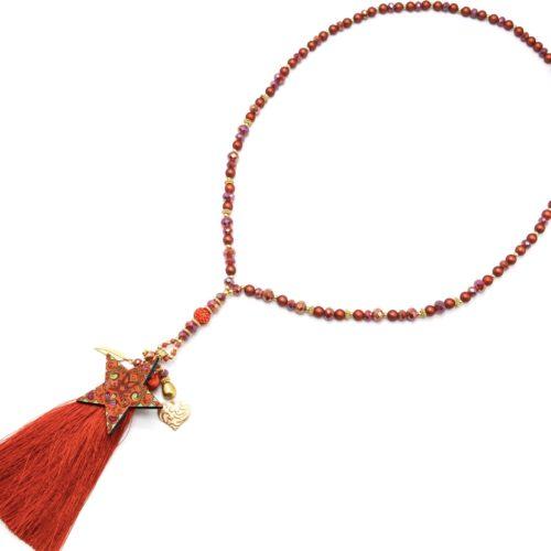 Sautoir-Collier-Perles-Resine-et-Brillantes-avec-Etoile-Motifs-et-Pompon-Terracotta