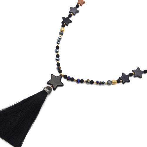 Sautoir-Collier-Perles-Resine-et-Brillantes-avec-Multi-Pierres-Etoile-et-Pompon-Noir
