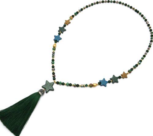 Sautoir-Collier-Perles-Resine-et-Brillantes-avec-Multi-Pierres-Etoile-et-Pompon-Vert-Sapin