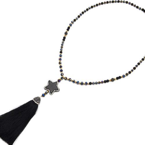 Sautoir-Collier-Perles-Resine-et-Brillantes-avec-Pierre-Etoile-Strass-et-Pompon-Noir