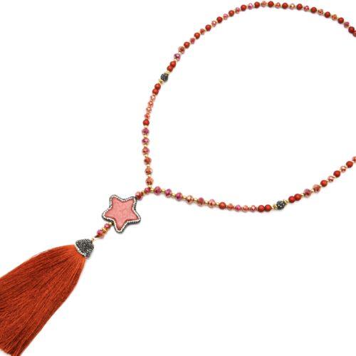 Sautoir-Collier-Perles-Resine-et-Brillantes-avec-Pierre-Etoile-Strass-et-Pompon-Terracotta