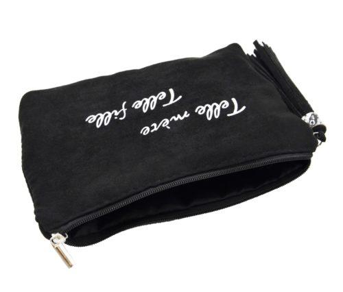 Trousse-Pochette-Effet-Daim-Message-Telle-mere-Telle-fille-Pompon-Noir
