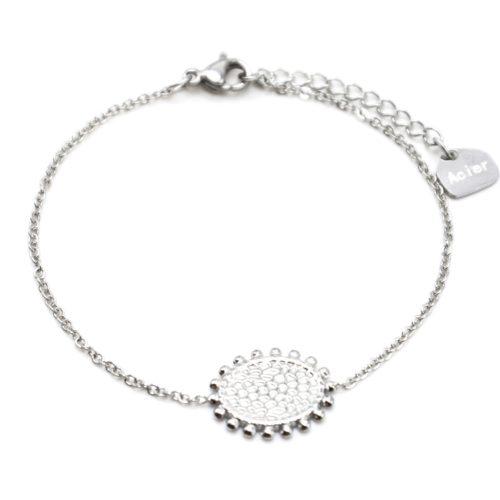 Bracelet-avec-Medaille-Martelee-Contour-Billes-Acier-Argente