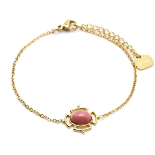 Bracelet-avec-Pierre-Ovale-Rose-Effet-Naturel-et-Contour-Ajoure-Acier-Dore