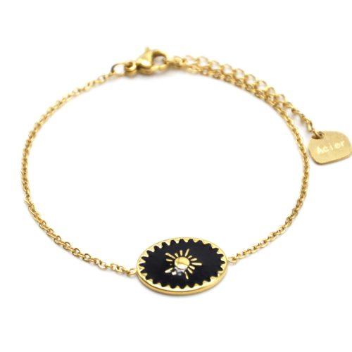 Bracelet-avec-Ovale-Email-Noir-Motif-Soleil-et-Contour-Acier-Dore