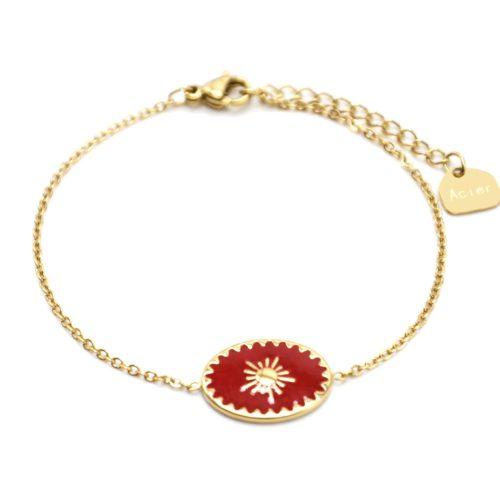 Bracelet-avec-Ovale-Email-Rouge-Motif-Soleil-et-Contour-Acier-Dore