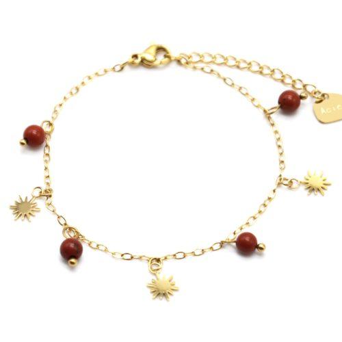 Bracelet-Fine-Chaine-avec-Pampilles-Soleils-Acier-Dore-et-Perles-Terracotta