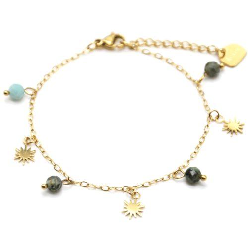 Bracelet-Fine-Chaine-avec-Pampilles-Soleils-Acier-Dore-et-Perles-Vertes