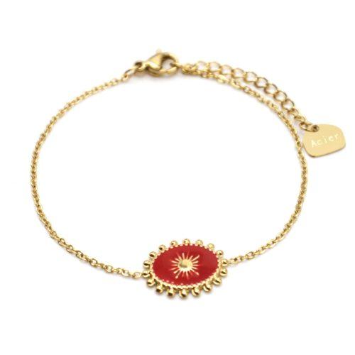 Bracelet-avec-Ovale-Email-Rouge-Motif-Soleil-et-Contour-Billes-Acier-Dore