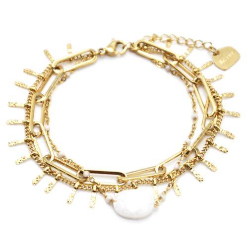 Bracelet-Triple-avec-Maillons-Pampilles-Acier-Dore-Mini-Perles-et-Pierre-Blanche