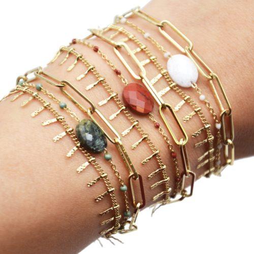 Bracelet-Triple-avec-Maillons-Pampilles-Acier-Dore-Mini-Perles-et-Pierre