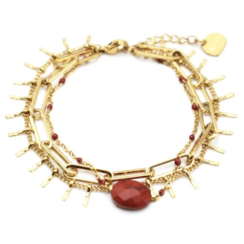Bracelet-Triple-avec-Maillons-Pampilles-Acier-Dore-Mini-Perles-et-Pierre-Brique