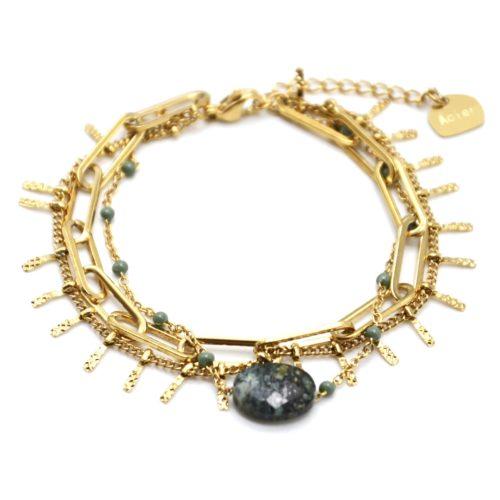 Bracelet-Triple-avec-Maillons-Pampilles-Acier-Dore-Mini-Perles-et-Pierre-Verte