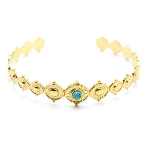 Bracelet-Jonc-avec-Cercles-Graves-Motif-Soleil-Acier-Dore-et-Pierre-Turquoise