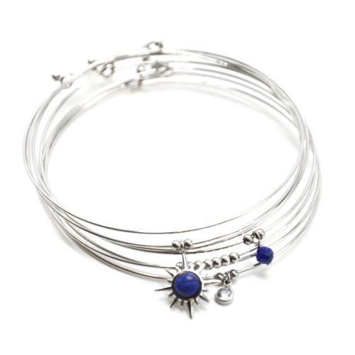 Bracelet-Semainier-Multi-Joncs-Acier-Argente-avec-Billes-Etoile-Polaire-et-Perles-Bleu