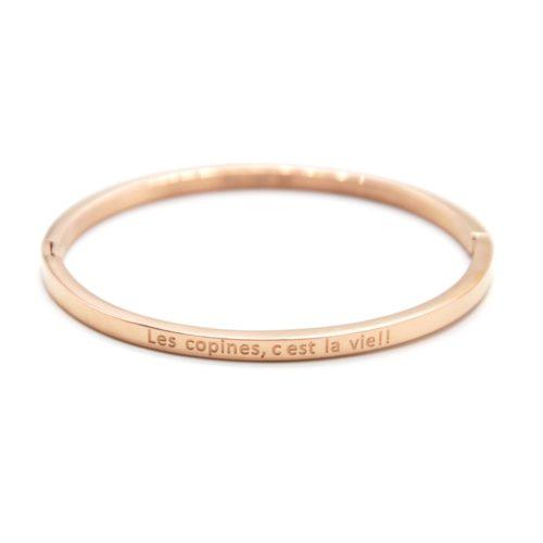 Bracelet-Enfant-Jonc-Fin-Acier-Or-Rose-avec-Message-Les-copines-c-est-la-vie