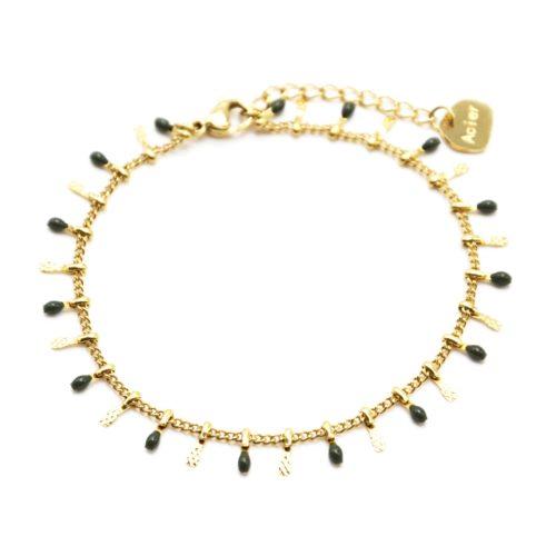 Bracelet-avec-Pampilles-Relief-Carreaux-Acier-Dore-et-Perles-Email-Kaki