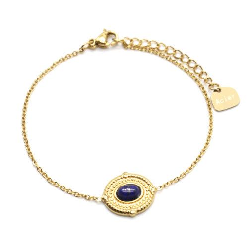 Bracelet-avec-Medaille-Ovale-Relief-Points-Acier-Dore-et-Pierre-Bleue