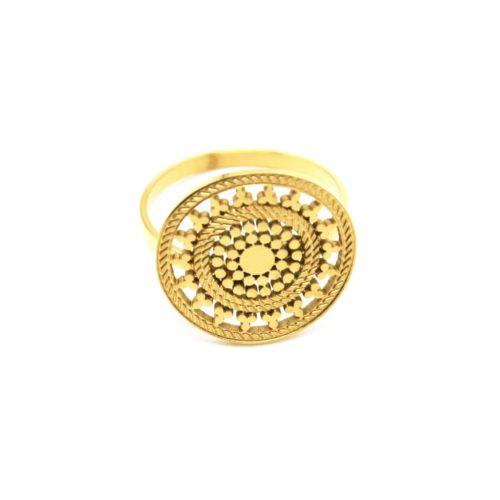 Bague-Reglable-avec-Medaille-Ajouree-Motif-Soleil-Acier-Dore