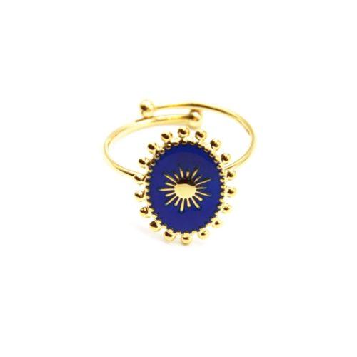 Bague-avec-Ovale-Email-Bleu-Motif-Soleil-et-Contour-Billes-Acier-Dore