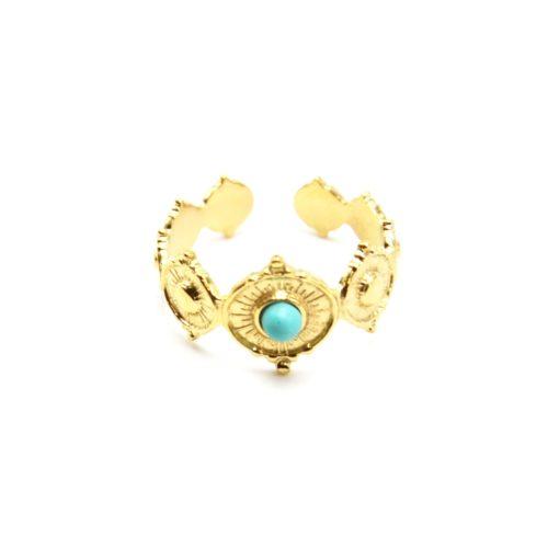 Bague-avec-Multi-Ovales-Graves-Motif-Soleil-Acier-Dore-et-Pierre-Turquoise