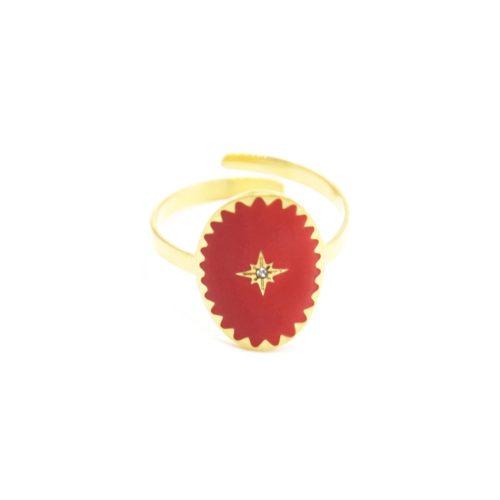Bague-Reglable-Acier-Dore-avec-Ovale-Email-Rouge-Motif-Etoile-Polaire