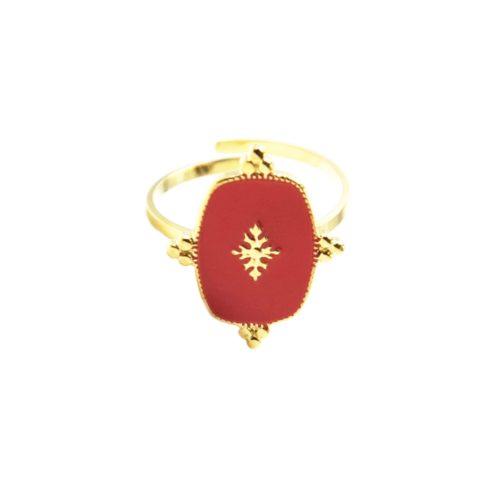 Bague-Reglable-avec-Medaille-Email-Rouge-Motif-Baroque-et-Acier-Dore