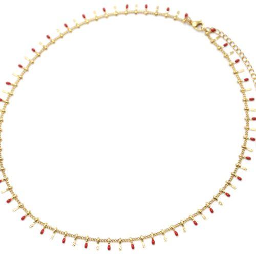 Collier-Ras-du-Cou-avec-Pampilles-Relief-Carreaux-Acier-Dore-et-Perles-Email-Rouge