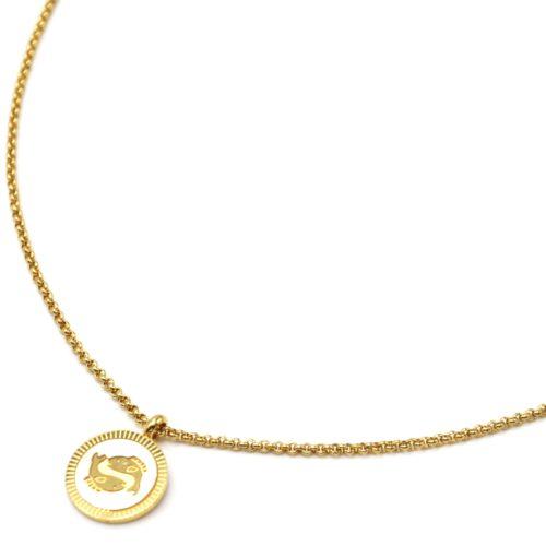 Collier-Pendentif-Medaille-Signe-Astro-Poissons-Acier-Dore-et-Nacre-Blanc