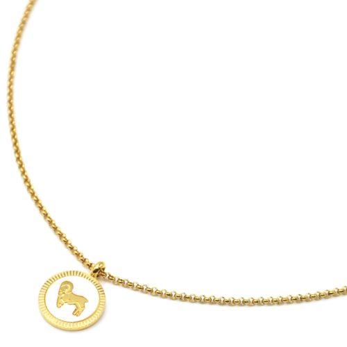 Collier-Pendentif-Medaille-Signe-Astro-Belier-Acier-Dore-et-Nacre-Blanc