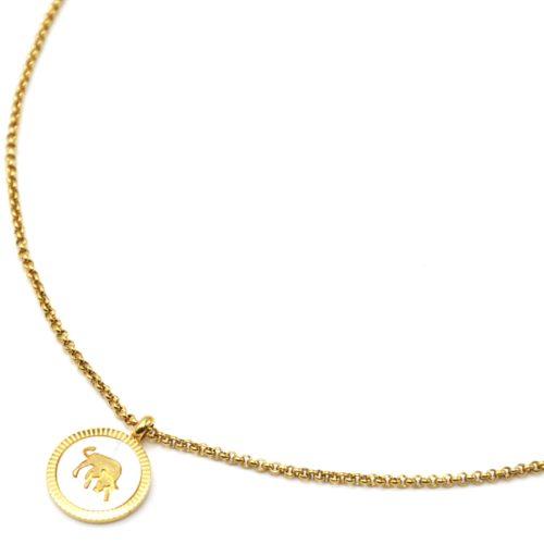 Collier-Pendentif-Medaille-Signe-Astro-Taureau-Acier-Dore-et-Nacre-Blanc