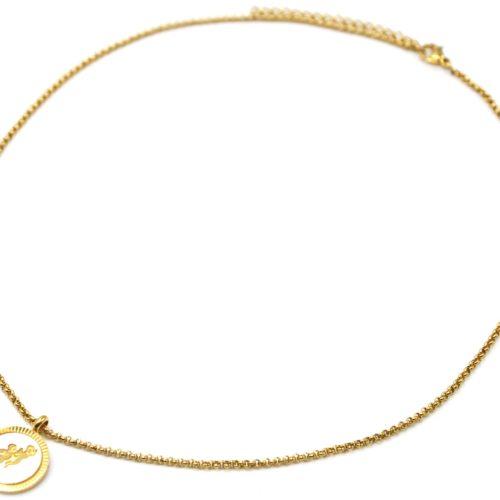 Collier-Pendentif-Medaille-Signe-Astro-Gemeaux-Acier-Dore-et-Nacre-Blanc