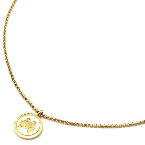 Collier-Pendentif-Medaille-Signe-Astro-Cancer-Acier-Dore-et-Nacre-Blanc