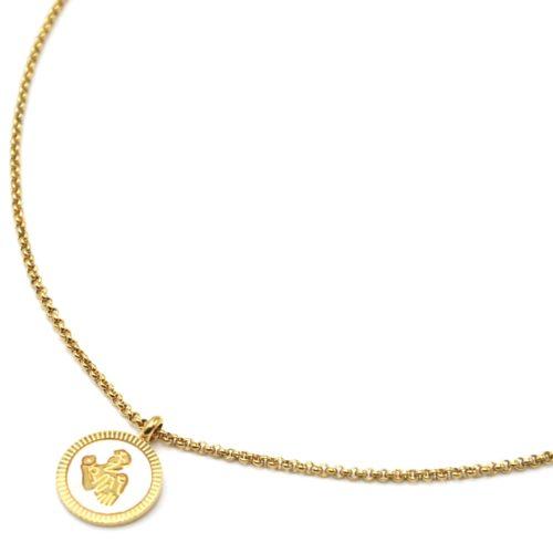 Collier-Pendentif-Medaille-Signe-Astro-Vierge-Acier-Dore-et-Nacre-Blanc