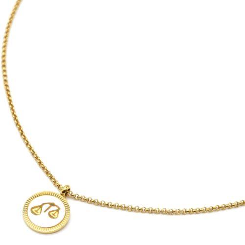Collier-Pendentif-Medaille-Signe-Astro-Balance-Acier-Dore-et-Nacre-Blanc