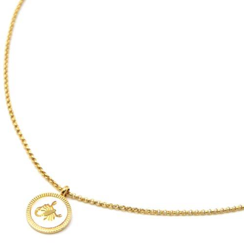 Collier-Pendentif-Medaille-Signe-Astro-Scorpion-Acier-Dore-et-Nacre-Blanc