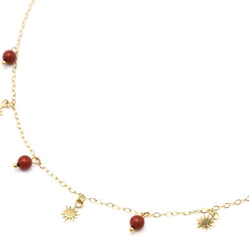 Collier-Ras-du-Cou-avec-Pampilles-Soleils-Acier-Dore-et-Perles-Brique