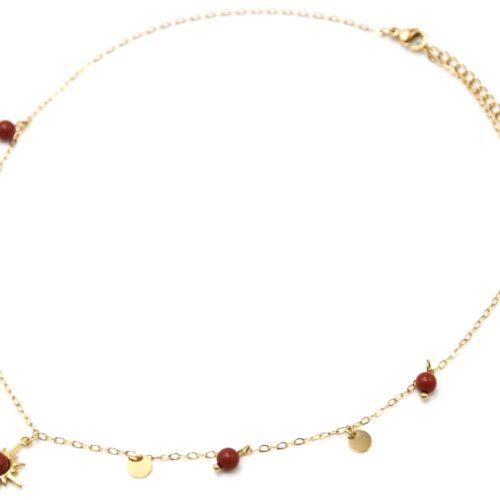 Collier-Ras-du-Cou-avec-Mini-Pampilles-Etoile-Polaire-Acier-Dore-et-Perles-Brique
