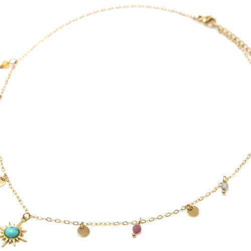 Collier-Ras-du-Cou-avec-Mini-Pampilles-Etoile-Polaire-Acier-Dore-et-Perles-Multicolore
