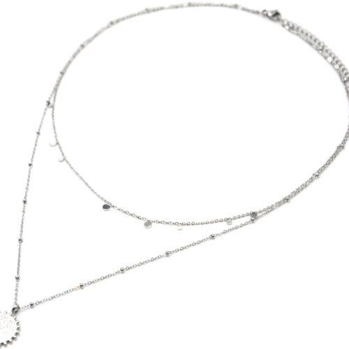 Collier-Double-Chaine-Mini-Pampilles-et-Medaille-Martelee-Billes-Acier-Argente