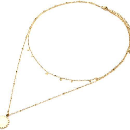Collier-Double-Chaine-Mini-Pampilles-et-Medaille-Martelee-Billes-Acier-Dore