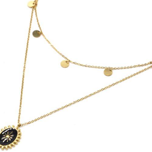 Collier-Double-Chaine-Pampilles-Acier-Dore-et-Ovale-Email-Noir-Motif-Soleil-Billes