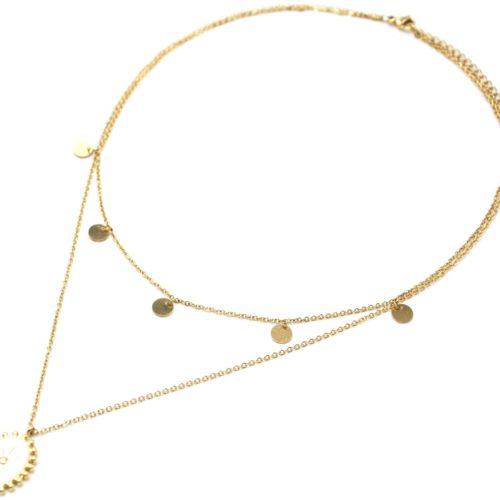 Collier-Double-Chaine-Pampilles-Acier-Dore-et-Ovale-Email-Blanc-Motif-Soleil-Billes