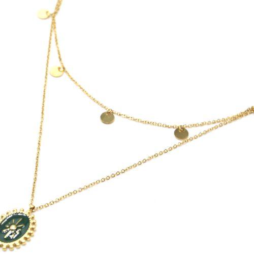 Collier-Double-Chaine-Pampilles-Acier-Dore-et-Ovale-Email-Vert-Sapin-Motif-Soleil-Billes