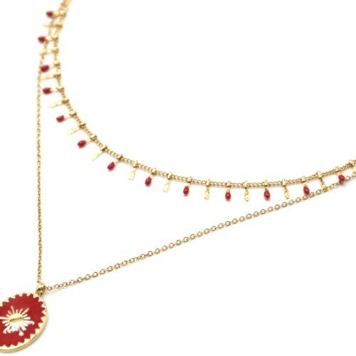 Collier-Double-Chaines-Pampilles-Carreaux-Acier-Dore-et-Ovale-Email-Rouge-Motif-Soleil