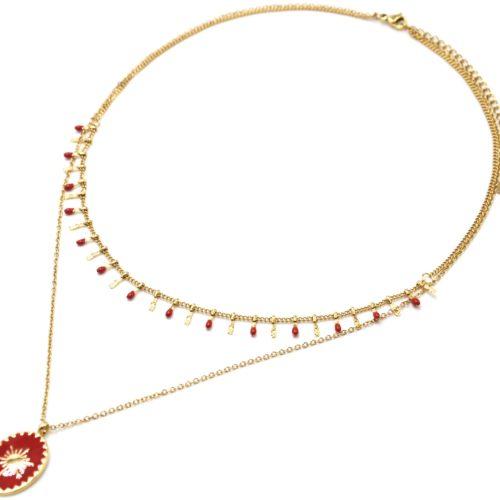 Collier-Double-Chaine-Pampilles-Carreaux-Acier-Dore-et-Ovale-Email-Rouge-Motif-Soleil