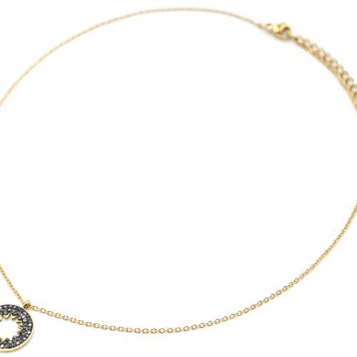 Collier-Fine-Chaine-Acier-Dore-avec-Cercle-Strass-Gris-Motif-Ajoure-Soleil