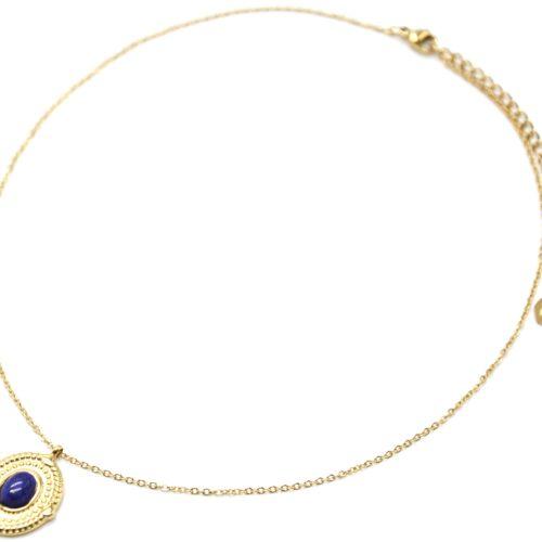 Collier-Pendentif-Medaille-Ovale-Relief-Points-Acier-Dore-et-Pierre-Bleue
