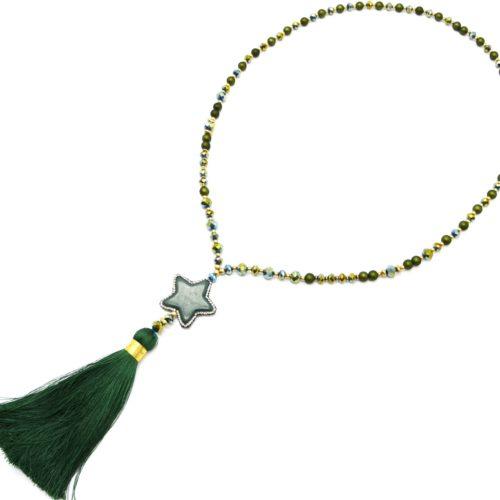 Sautoir-Collier-Perles-Resine-et-Brillantes-avec-Pierre-Etoile-Strass-et-Pompon-Vert