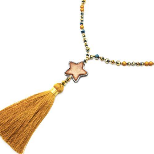 Sautoir-Collier-Perles-Resine-et-Brillantes-avec-Pierre-Etoile-Strass-et-Pompon-Moutarde